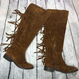 Brown Fringe Faux Suede Western Boho Boots Size 8